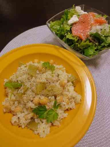 ひよこ豆のバタージンジャーごはん 2011/02/17  chickpea, butter ginger rice