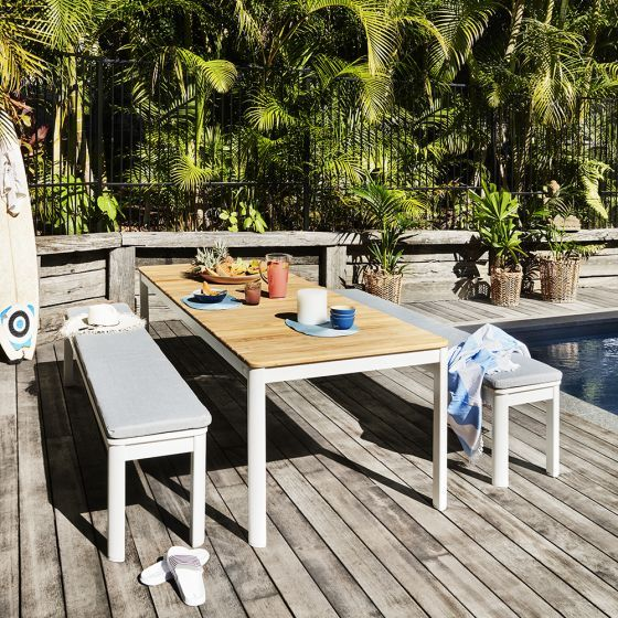 Coast Teak Top Aluminium Table 2120x900mm Aluminum Table Teak Outdoor Furniture Sets