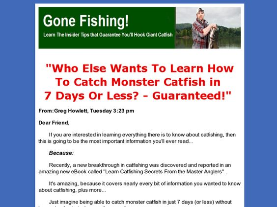 Learn How To Catch Monster Catfish In 7 Days Or Less - Guaranteed Review  Get Full Review : http://scamereviews.typepad.com/blog/2013/03/learn-how-to-catch-monster-catfish-in-7-days-or-less-guaranteed-get-for-free.html