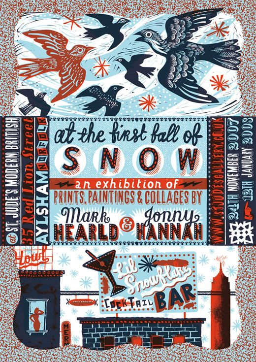 Jonny Hannah and Mark Hearld's exhibition poster at All things considered. blog.