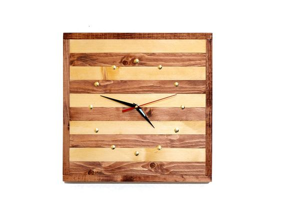 Handmade Wooden clock with a silent quartz mechanism #Handmade
