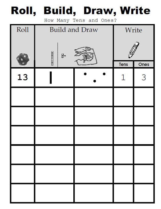 Place value activity: roll, build, draw, write. Also has lots of other maths ideas and games for kids! -could easily use for decimals#Repin By:Pinterest++ for iPad#