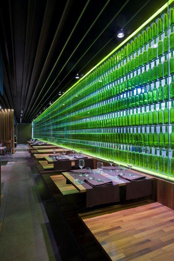 Spanish restaurant, El Merca'o by Vaillo + Irigaray, 10 green bottles ...