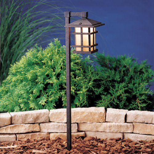 Kichler Lighting 15232AGZ Cross Creek 1-Light 120-Volt Path & Spread Light, Aged Bronze with Textured Linen Seedy Glass Side Panels and Clear Glass Bottom Panel