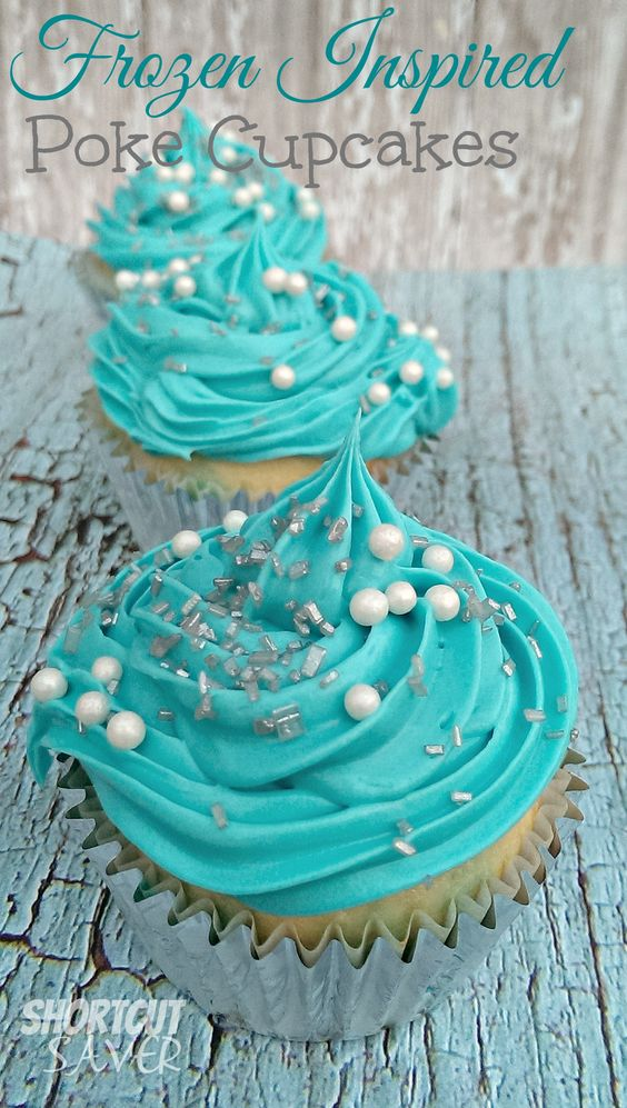 With the negative temperatures this week, I decided to go with a Disney Frozen Inspired Recipe. These Frozen Inspired Poke Cupcakes are a hit in my house.