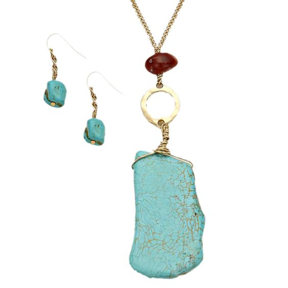 Stunning Turquoise Pendant Long Necklace Earring Set