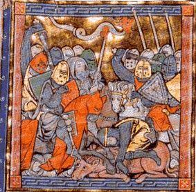 Encyclopédie Marikavel. La Bataille de Carohaise. Page d'accueil et de titre. Miniature montrant une charge de cavalerie, ayant pour bannière un dragon en haut d'une hampe. Ce dragon est à l'origine de l'épithète du père d'Arthur : Pendragon = penn dragon : commandant de cavalerie