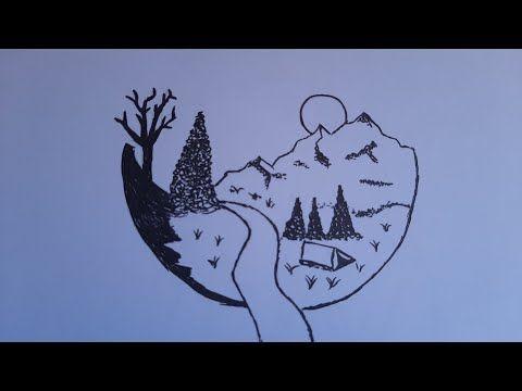 تعليم الرسم للمبتدئين رسم مناظر طبيعية سهلة ورائعة رسم سهل رسومات سهلة Youtube Moose Art Art Animals