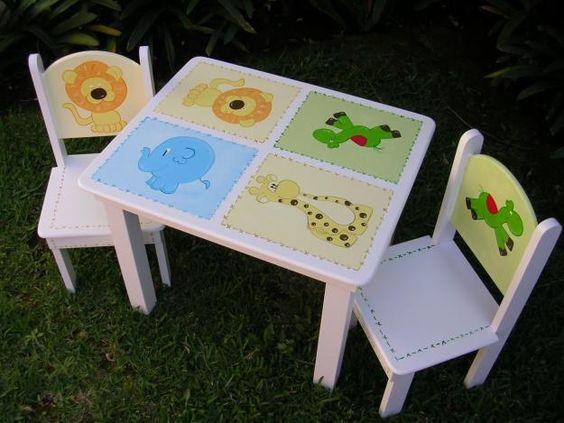 Mesa para ni os conjuntos y madera art culos web - Mesita con sillas infantiles ...