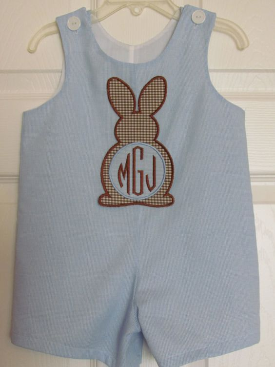 Baby Boy Easter Bunny Applique Shortall Longall Jon Jon Romper Monogram Initials