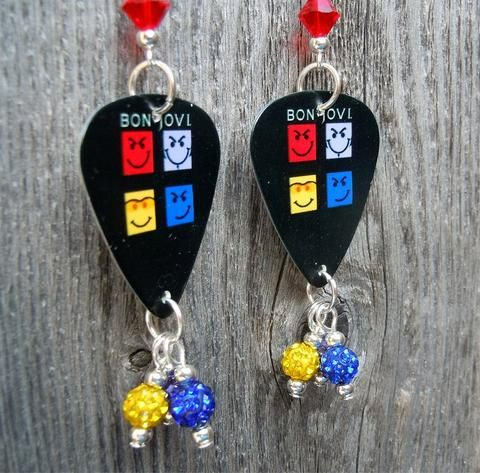 Bon Jovi Have A Nice Day Guitar Pick Earrings With Pave Dangles