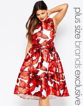 Chi Chi London Plus Hi Lo Floral Print Skater Dress