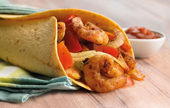 Prawn fajitas with lemon rice