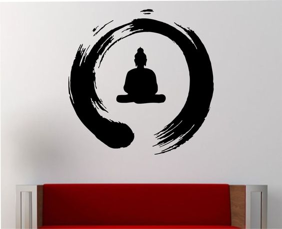 zen circle with buddha wall decal vinyl sticker art decor bedroom design mural interior design meditation