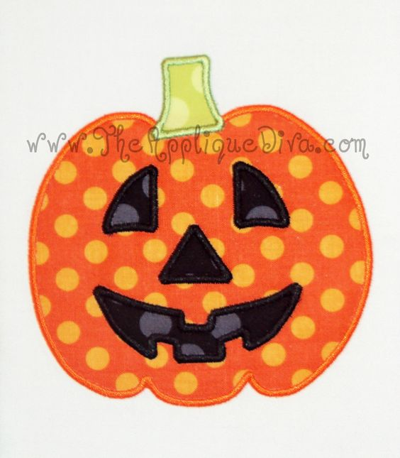 Machine applique halloween pumpkins and embroidery