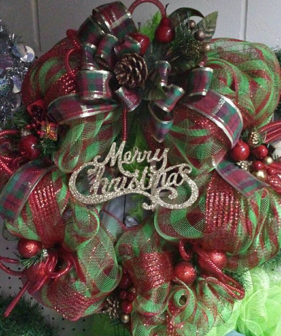 Red gold and green Christmas wreath,  pretty!