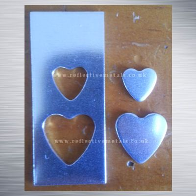20mm x 50mm Rectangle with a 15mm & a 10mm heart cut out. This set is priced to include the hearts