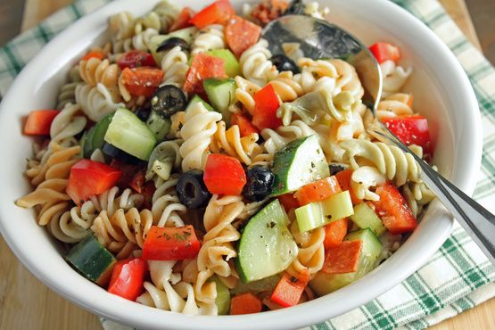 Italian Pasta Salad Recipe - Italian Pasta Salad Recipe - made w/cucumber, red & green peppers, celery, bowtie & colored spiral pasta, w/o pepperoni + homemade Italian dressing