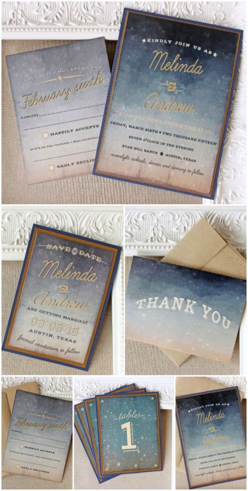Starry Night Wedding Stationery Collection (save the date, invitation, table numbers, thank you notes) | Sunshine and Ravioli