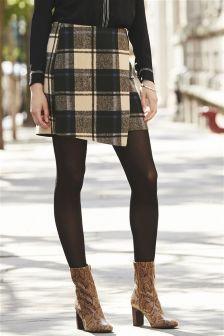 ブランケット チェック ラップディテール スカート