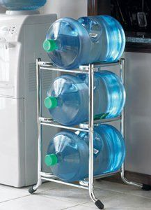 Polder STO-7178-05 3-Tier 5-Gallon Water-Bottle Caddy,Chrome: Amazon.com: Kitchen & Dining $55.00