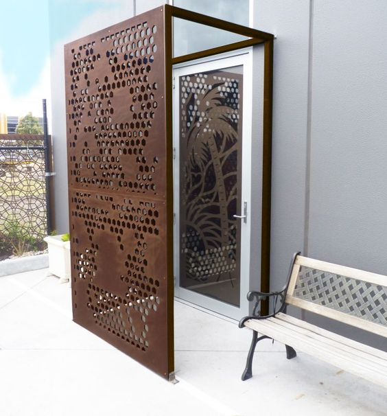 brise vue jardin et d co en acier corten 30 id es splendides porches et entr es. Black Bedroom Furniture Sets. Home Design Ideas