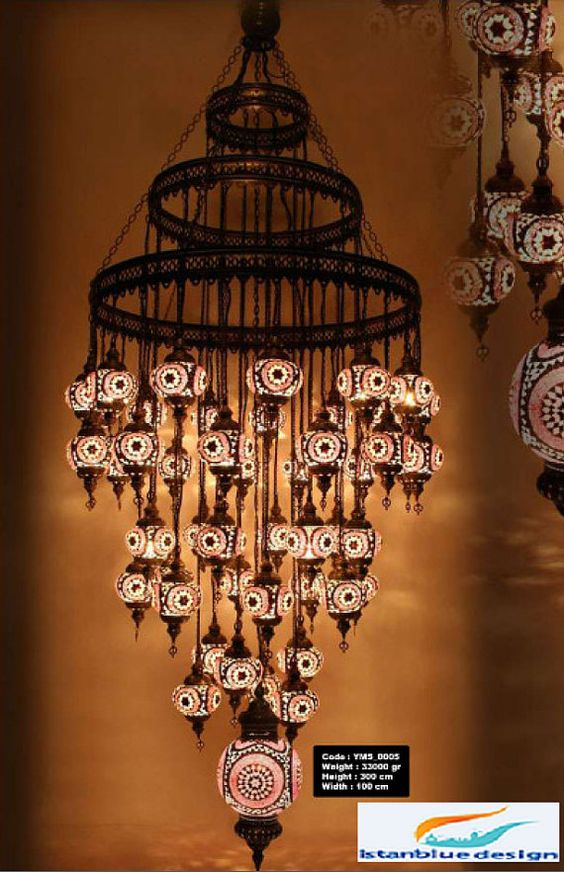 Stunning Turkish Mosaıc Chandelier 49 Globe by IstanblueDesign