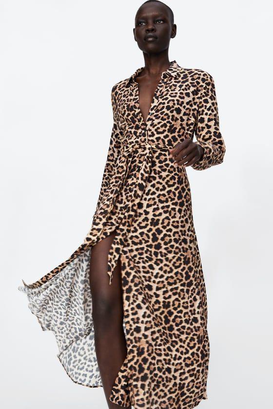 Zara Dan 6 Leopar Desenli Uzun Elbise Resmi Elbise Modelleri Elbiseler Elbise