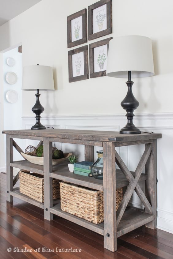 X Media console modified from Ana White X Console table plans-- stain and exact modifications listed for DIY build