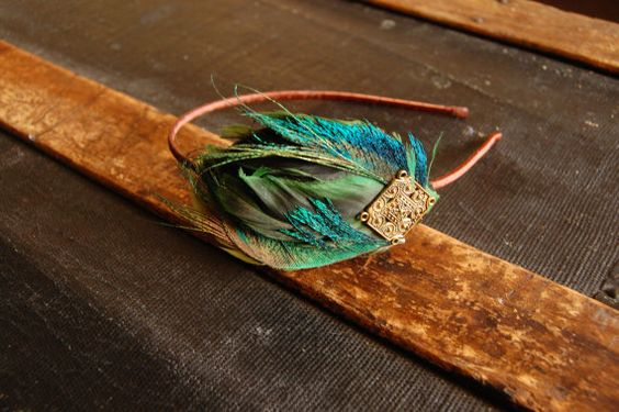 Feather Headband with Peacock Plumes by stcyr2 on Etsy, $18.00