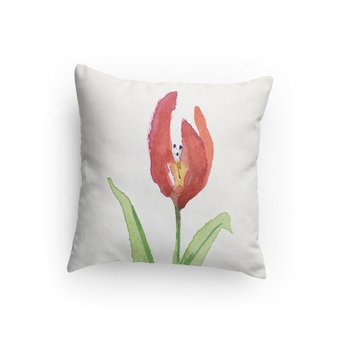 Tulip Throw Pillow Tulip Flower 14 X 14 Inches 18 X 18 Inches Decorative Pillows Floral Design Pillow Home Decor With Images Throw Pillows Decorative Pillows Pillows