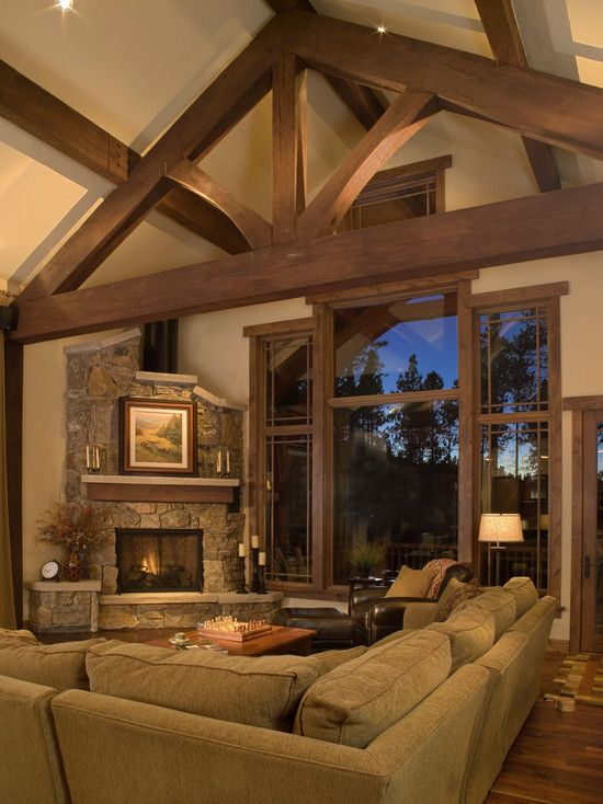 Adorable traditional cottage designs with unique for Cozy living room with fireplace