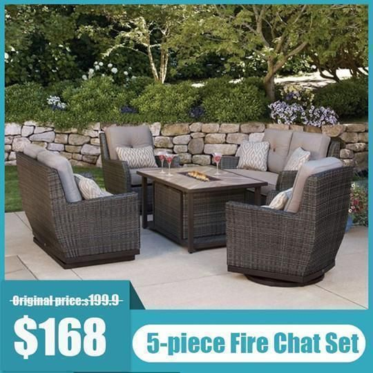 Outdoor All Weather Wicker Seat Four Piece Set With Fire Pit In