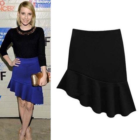 Emma Roberts Asymmetrical Black Skirt