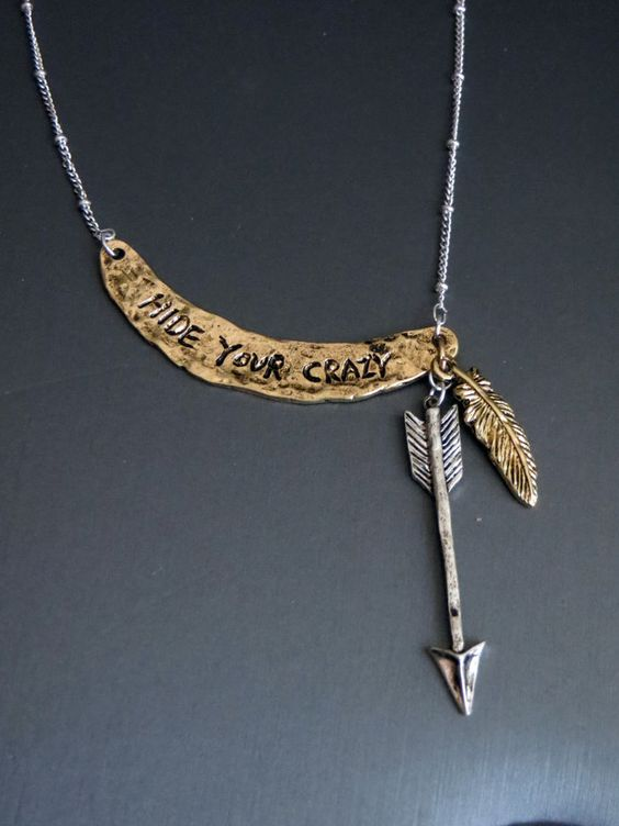Cowgirl Bling Gypsy Western Hide Your Crazy Arrow Feather Native Necklace #Unbranded #necklace