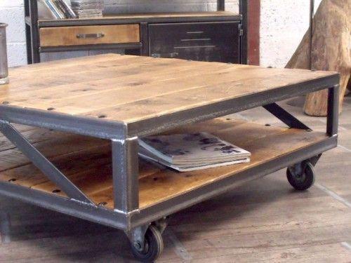 Table Basse Industrielle Table Basse Loft Table Basse Bois Metal Table Basse Sur Mesure Meuble In 2020 Industrial Coffee Table Metal Wood Coffee Table Coffee Table
