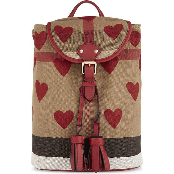 Burberry Heart Check canvas backpack (1.900 RON) ❤ liked on Polyvore featuring bags, backpacks, brown bag, brown canvas backpack, tassel bag, handle bag and checked bag