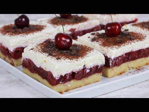 Hallo Ihr Lieben Heute Habe Ich Leckere Kirsch Schmand Schnitten Fur Euch Das Video Wurde Unt Kirsch Schmand Kuchen Einfacher Nachtisch Kuchen Und Torten