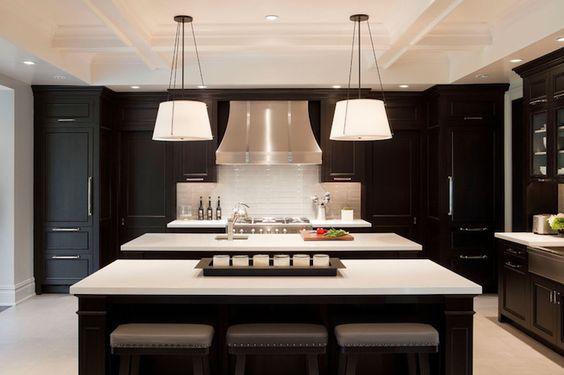 white quartz counter tops, double ebony kitchen islands