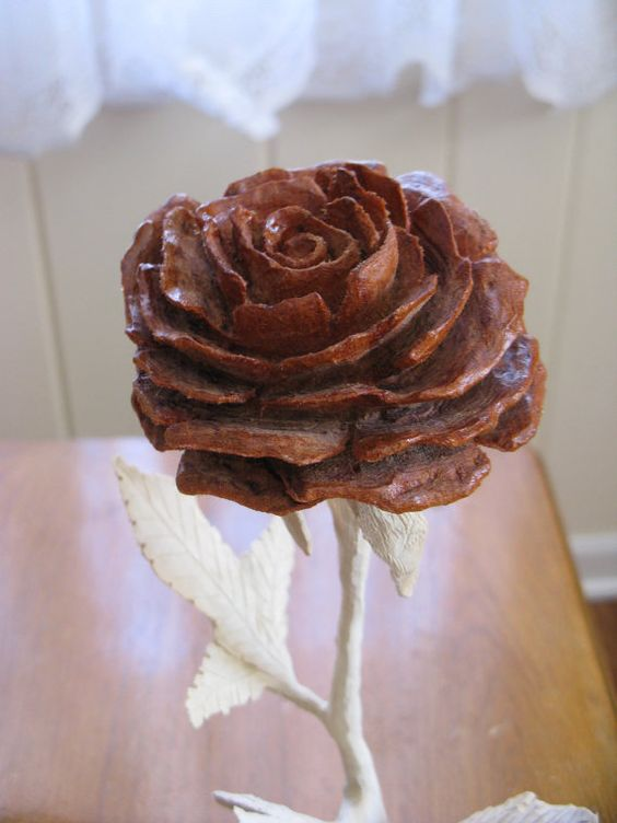 Wood rose carving wedding gift anniversary