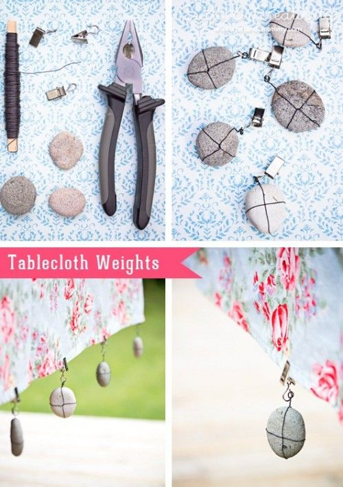 DIY Tablecloth Weights For Outdoor Meals | Shelterness  http://www.shelterness.com/diy-tablecloth-weights-for-outdoor-meals/
