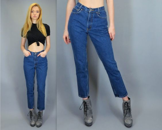 Vintage 80s 90s High Waisted Blue Jeans LA Blues Skinny Tapered ...