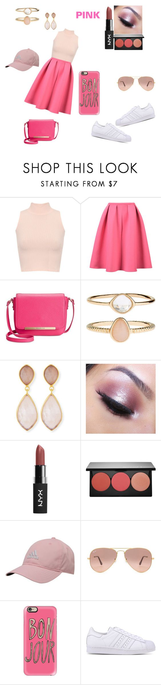 Pink by niaoffcal on Polyvore featuring WearAll, adidas Originals, Tommy Hilfiger, Accessorize, Dina Mackney, Casetify, adidas, Ray-Ban, Too Faced Cosmetics and Smashbox