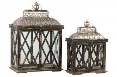 Urban Trends UTC94606 Wooden Lantern Black Antique Finish Set of 2 *** See this great product.