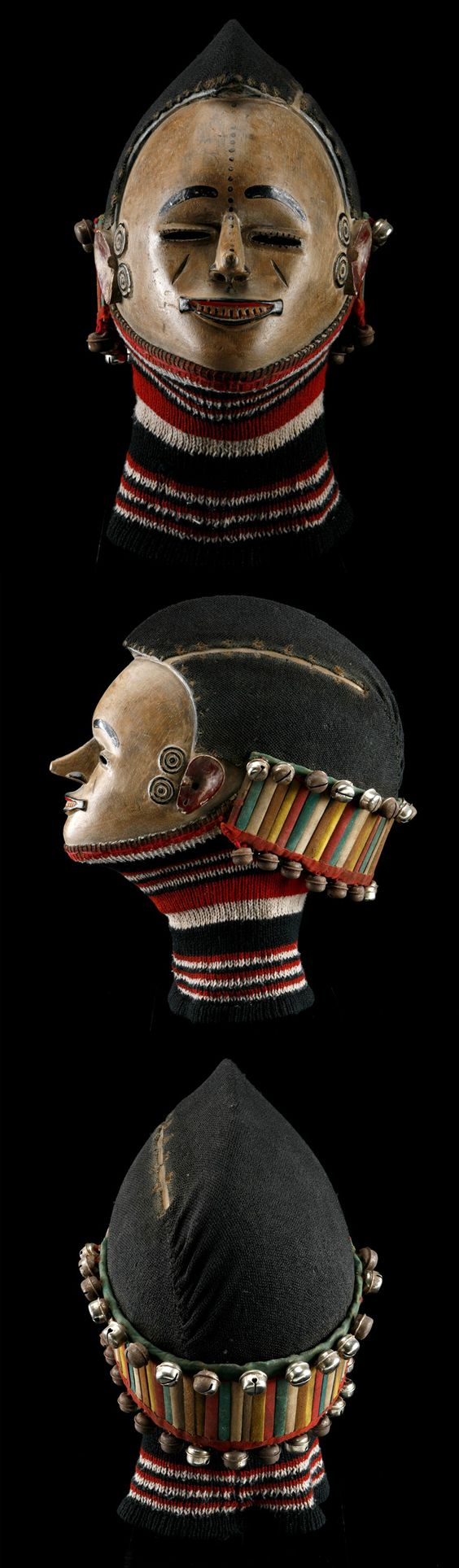 Africa | Mask from the Igbo people of Nigeria | Wood, pigment, metal, fabric, natural fiber