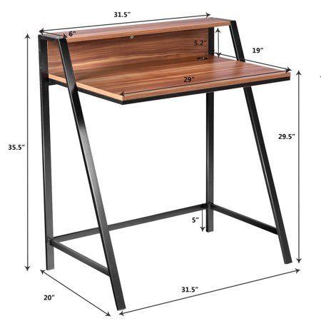 2 Tier Computer Desk Pc Laptop Table Study Writing Home Office Workstation Walmart Canada Pc Desk Desk Wood Computer Desk