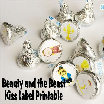 Make some fun Beauty and the Beast kiss printables for your book club, birthday party, or favorite fan. This free printable is great for Hershey kisses or Reeses candies and a good book. #TriplePFeature