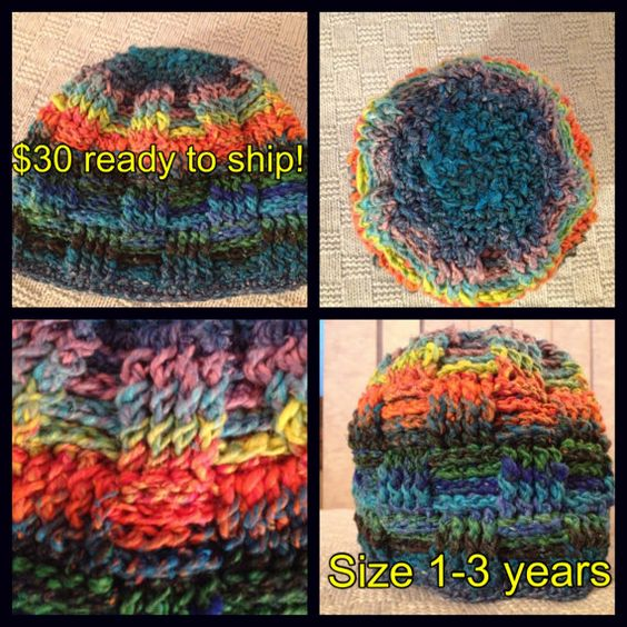 13 year old Multi Colored Woven Beanie made from Wool by Jessmiloo, $30.00