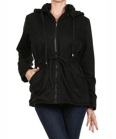 Loving this Black Hooded Anorak Jacket on #zulily! #zulilyfinds