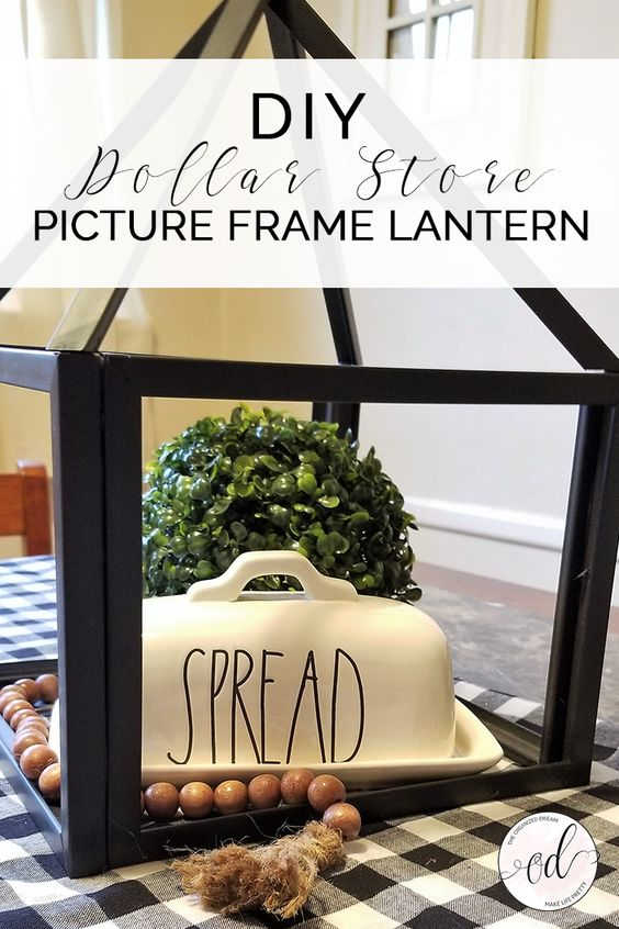 DIY Dollar Store Picture Frame Lantern #crafts #diy #homedecor